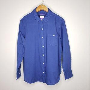 Fresh Produce blue button up shirt